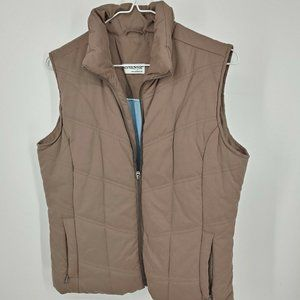 north style womens puffer vest size small beige